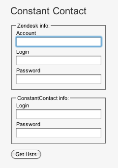 Login Screen for Constant Contact and Zendesk